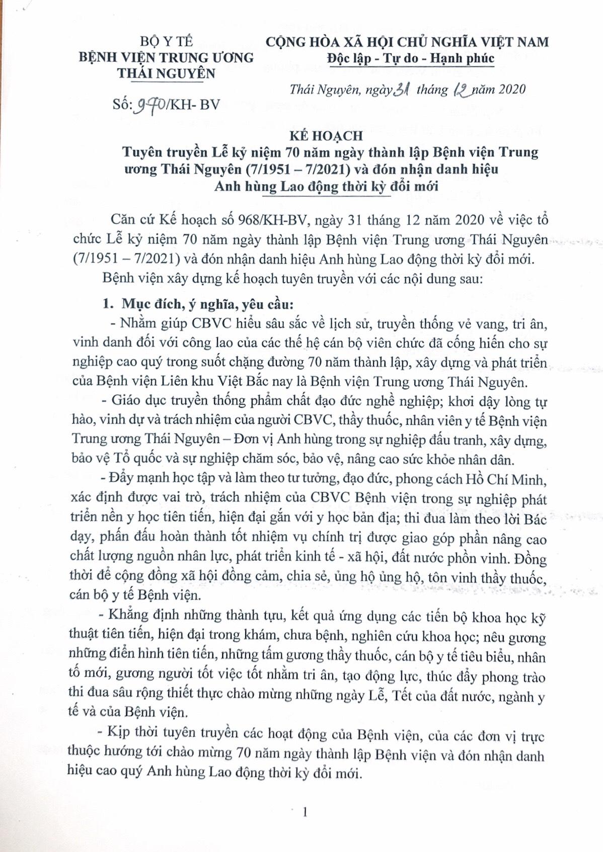 Kế hoạch Tuyên truyền Lễ kỷ niệm 70 năm ngày thành lập Bệnh viện Trung ương Thái Nguyên và đón nhận Danh hiệu Anh hùng Lao động