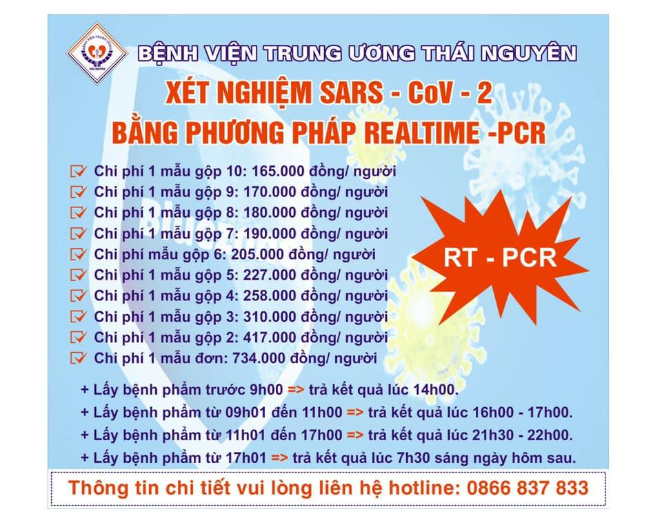 THÔNG BÁO GIÁ DỊCH VỤ XÉT NGHIỆM SARS - CoV -2 BẰNG PHƯƠNG PHÁP REALTIME - PCR
